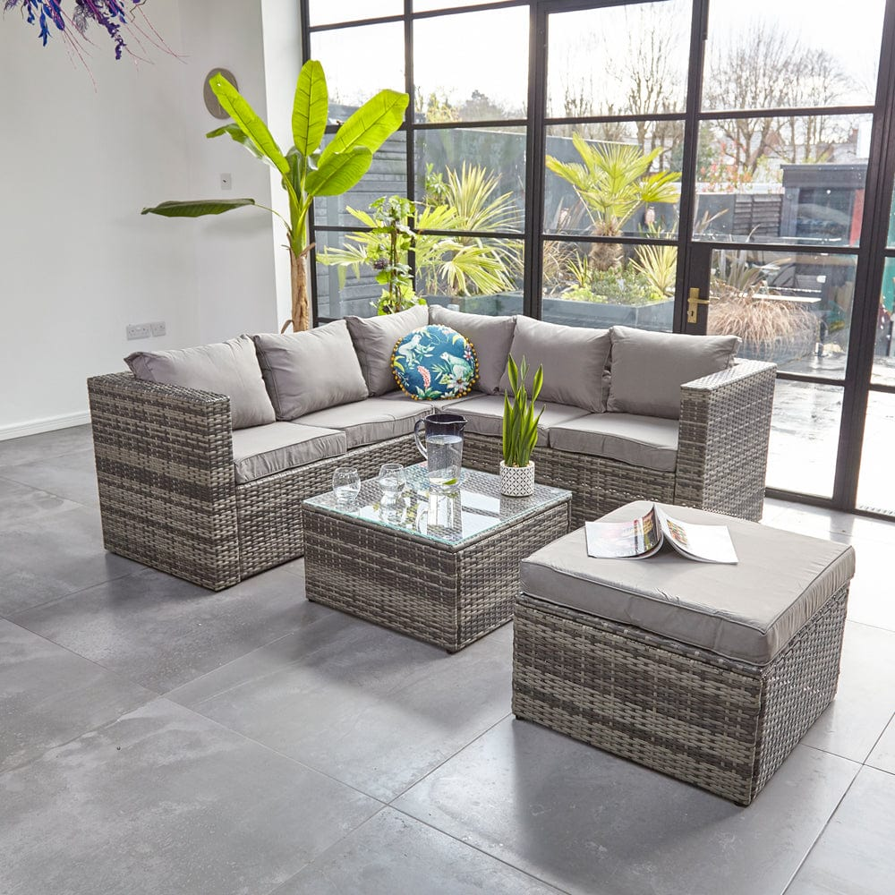Vancouver 6 Seater Modular Rattan Sofa Set In Grey