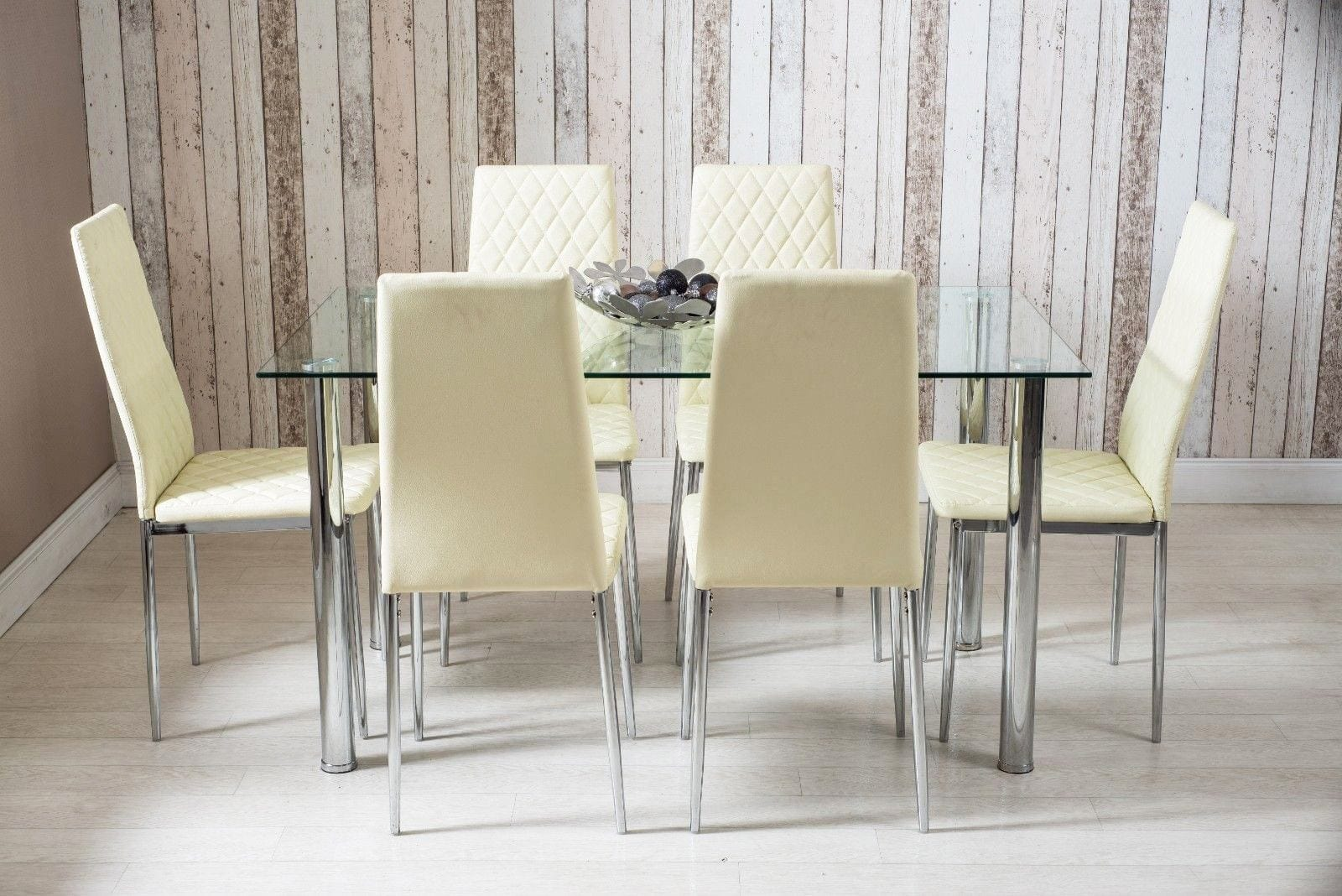 Glass Dining Table And Chairs Rectangle Glass Dining Table And Cream Faux Leather Chairs