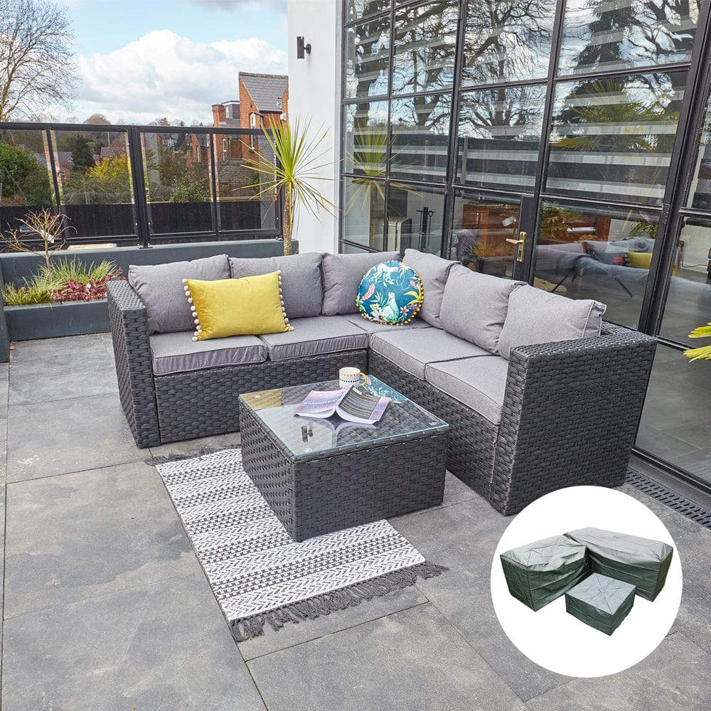 Vancouver 5 Seater Black Rattan Corner Sofa Patio Set Furniture Maxi