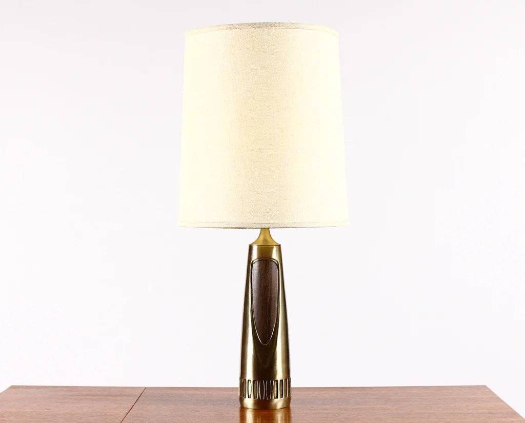 Vintage Table Lamps 796 Mid Century Vintage Table Lamp By Laurel Brass Walnut Large Sculptural Casting