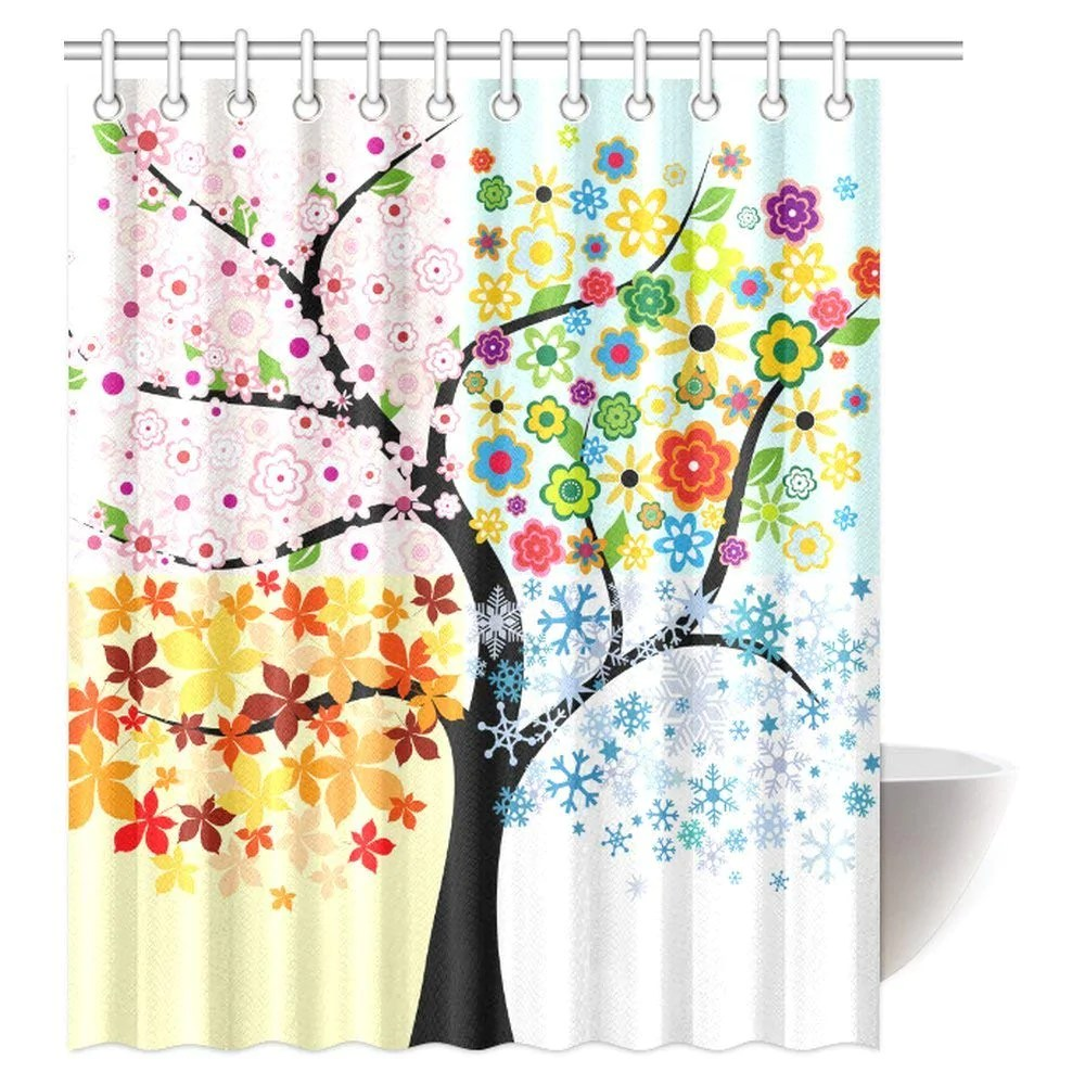 Red And Brown Shower Curtain Colorful Tree Four Seasons Art Polyester Fabric Shower Curtain