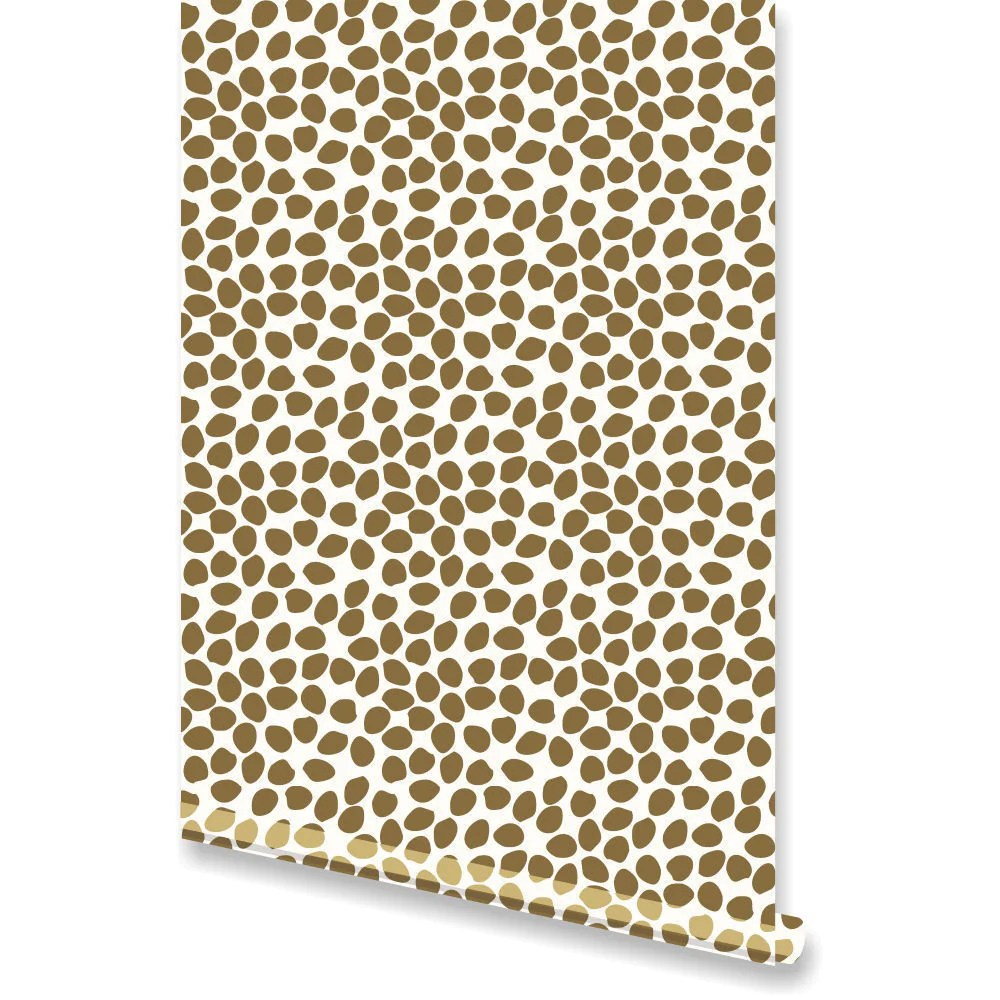 Metallic Gold Wallpaper Dottie Metallic Gold Wallpaper By Clairebella Studio