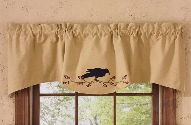 Primitive Crow Lined Window Wave Valance Country Kitchen