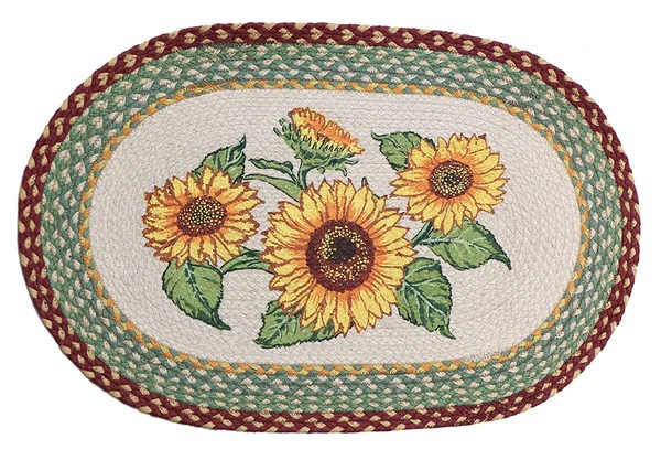 Fat Chef Kitchen Decor Sunflowers Braided Rug, Oval – Scarbrough Faire