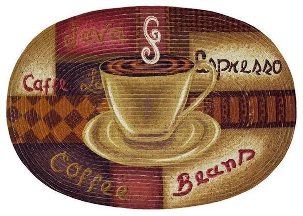 Espresso Coffee Kitchen Rug Braided Oval Rug Chef Decor