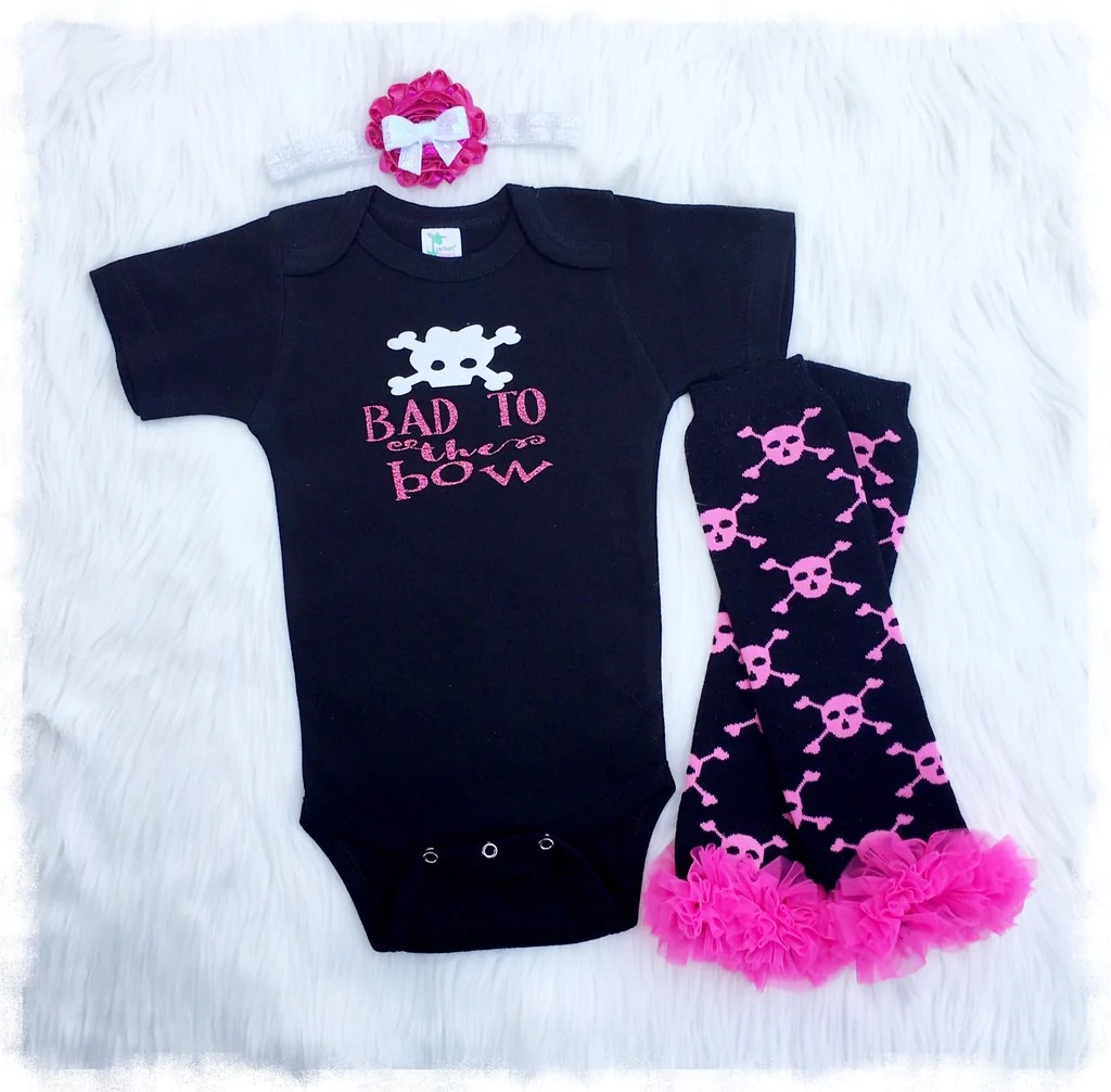 Bad Set For Baby Baby Girl Skull Clothes Black And Pink Bad To The Bow Set