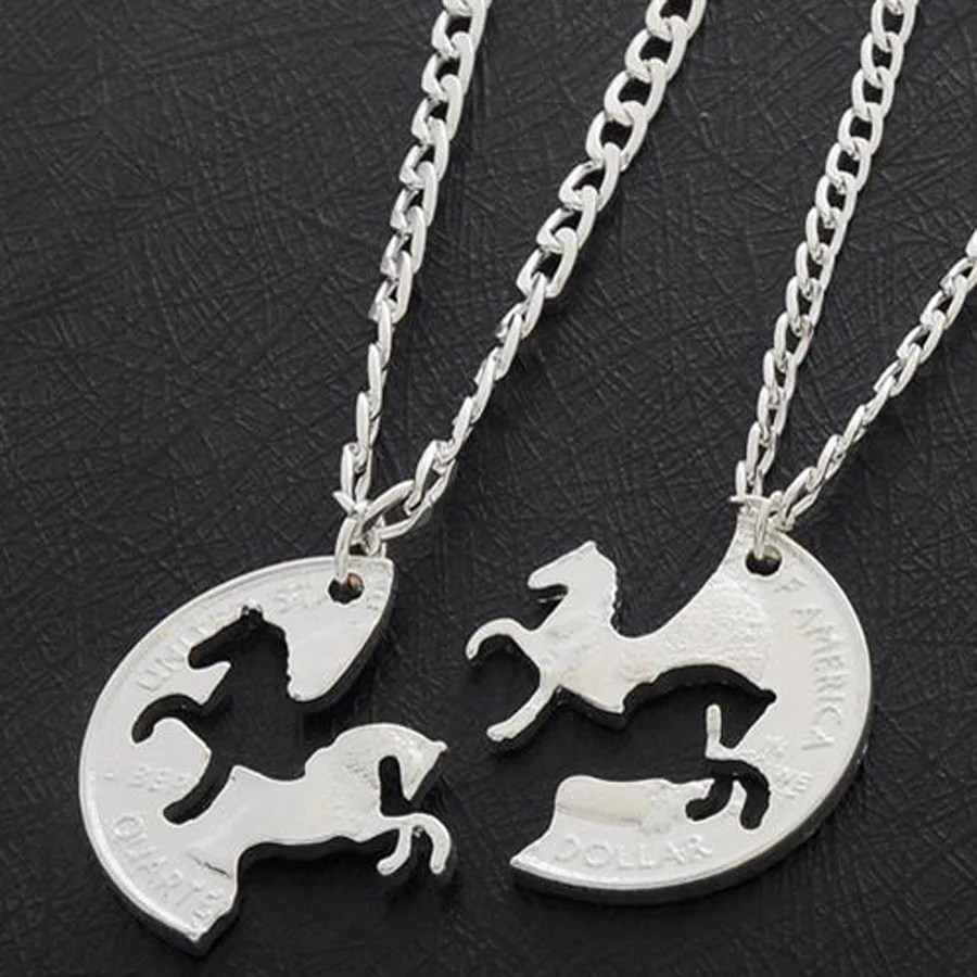 Beautiful One Beautiful One Of A Kind Couple S Galloping Horse Quarter Necklace