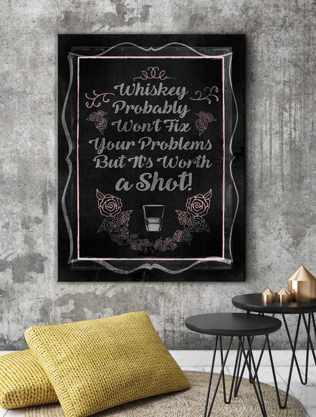 Bathroom Canvas Picture Wall Art Home Wall Art: Whiskey Chalk Board Canvas Art Pink – Sense
