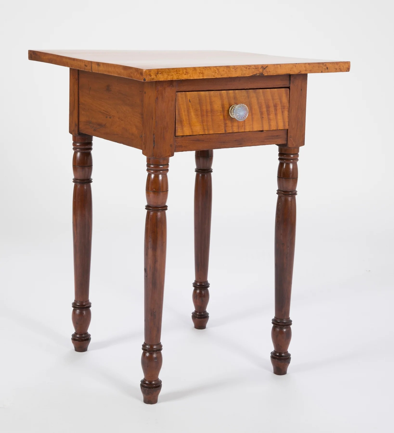 American Small One Drawer Tiger Maple Stand Avery Dash Collections