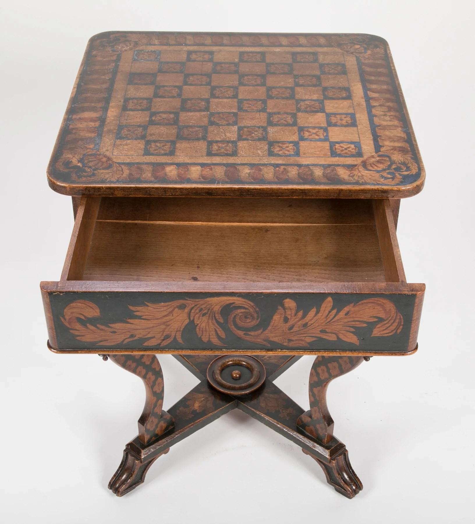 Chess Table Regency Painted Chess Table