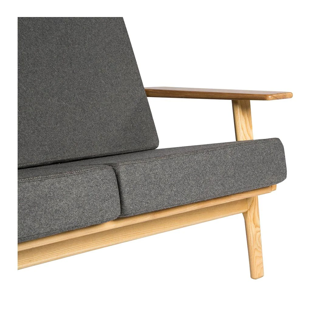 Hans Wegner Sofa Replica Wegner Plank 2 Seater Sofa Replica Smoke Grey