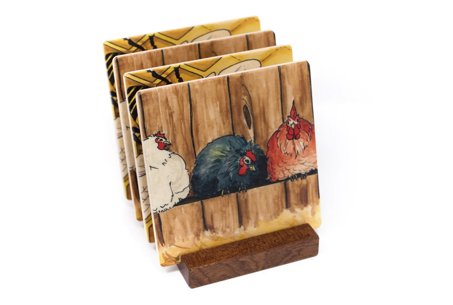 Wooden Coaster Holder Chickens And Honey Bee Wood Coasters From Original Paintings By Christi Sobel Set Of 4 Or 6 Wooden Coasters With Optional Holder