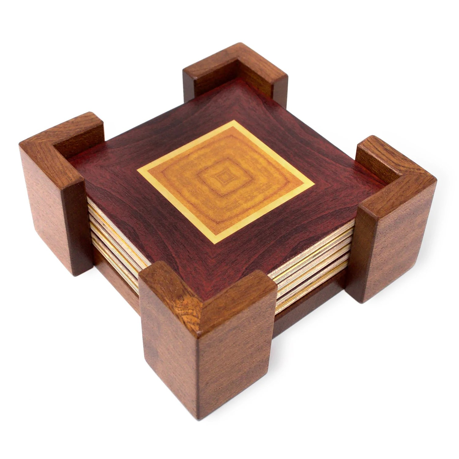 Wooden Coaster Holder Adapted From Unique Woodworking Patterns By Mitercraft Set Of 4 Or 6 Wood Coasters With Optional Holders Set 01