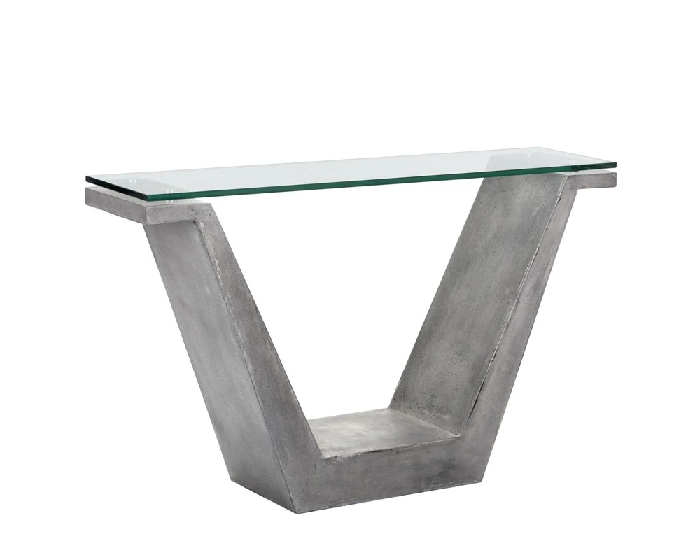 Glass Top Console Table Casper V Shaped Grey Concrete With Tempered Glass Top Console Table