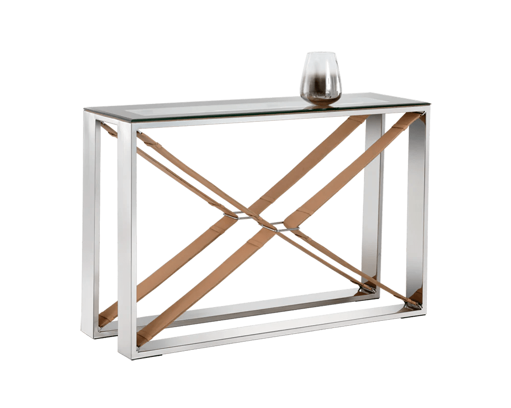 Glass Top Console Table Mavi Polished Stainless Steel Tan Leather Frame With Tempered Glass Top Console Table