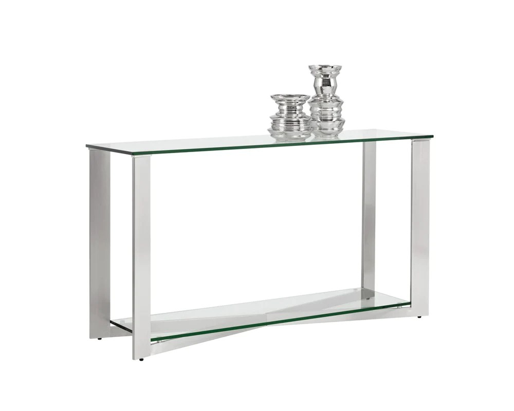 Glass Top Console Table Javier Brushed Stainless Steel Frame With Tempered Glass Top Console Table