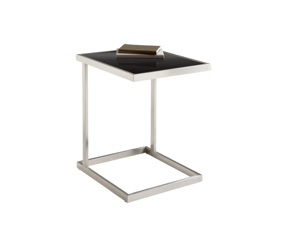 Metal Glass End Tables Nicole Brushed Stainless Steel With Tempered Black Glass End Table
