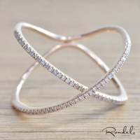 14K Rose Gold Floating X Ring - Rondels Jewelry