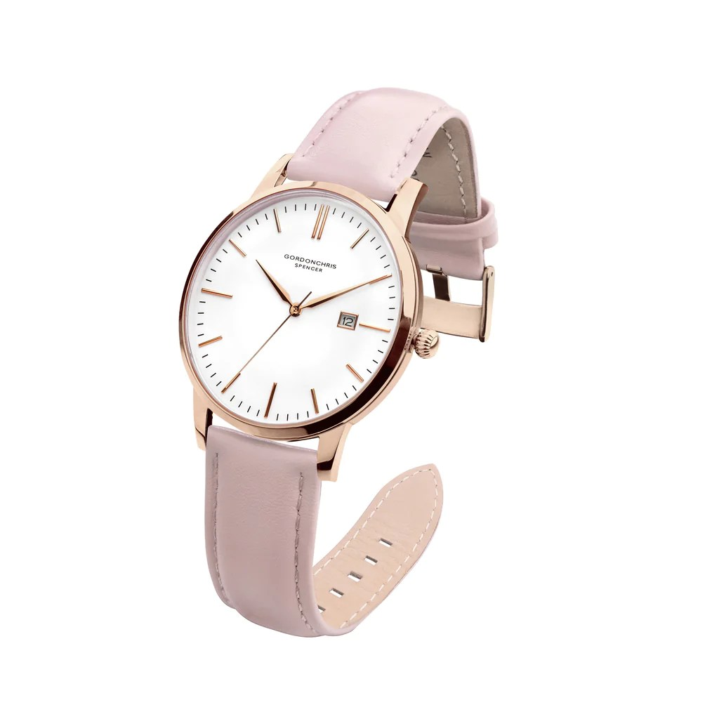 Leather Strap Rose Gold Watch Spencer Pink
