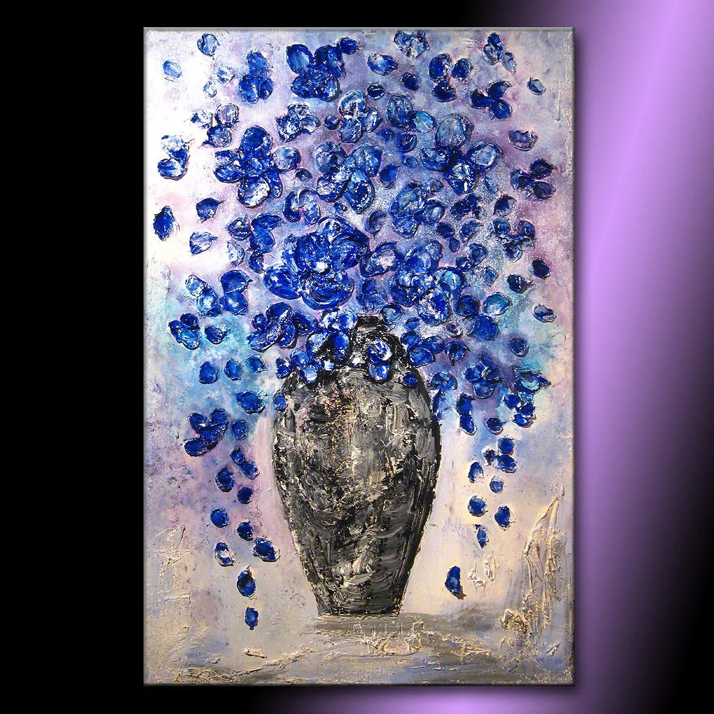Contemporary Abstract Painting Textured Blue Flowers Bouquet In Vase Contemporary Abstract Painting By Henry Parsinia 36x24