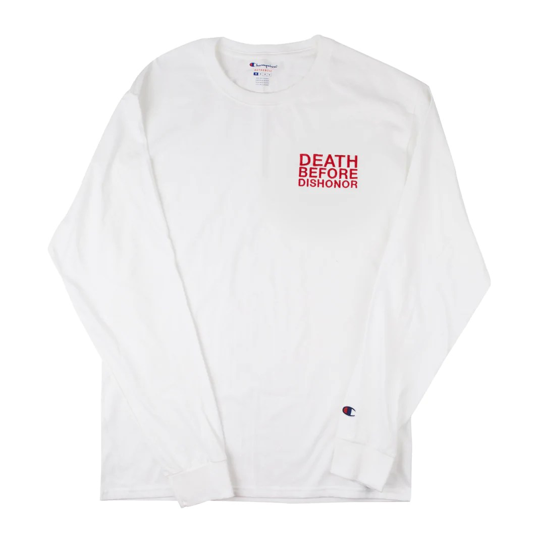 Sz Photo Dbd Classic Red Logo Embroidered On White Champion Longsleeve T 1 1 Sz Xl
