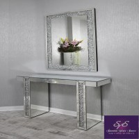 Mirrored Console Table with Diamond Crush Detail Legs ...