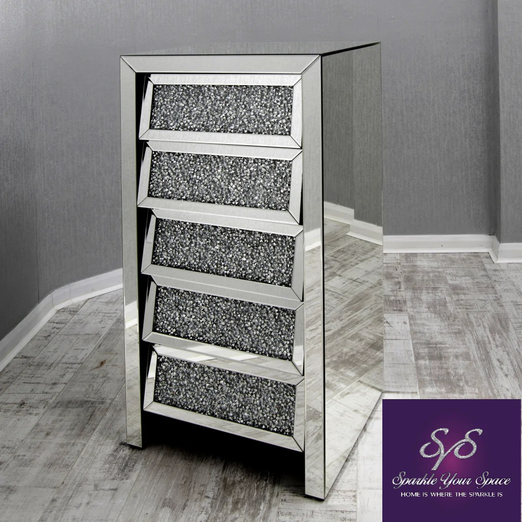Mirrored Tall Boy Mirrored Tall Boy Chest Of Drawers With Diamond Crush