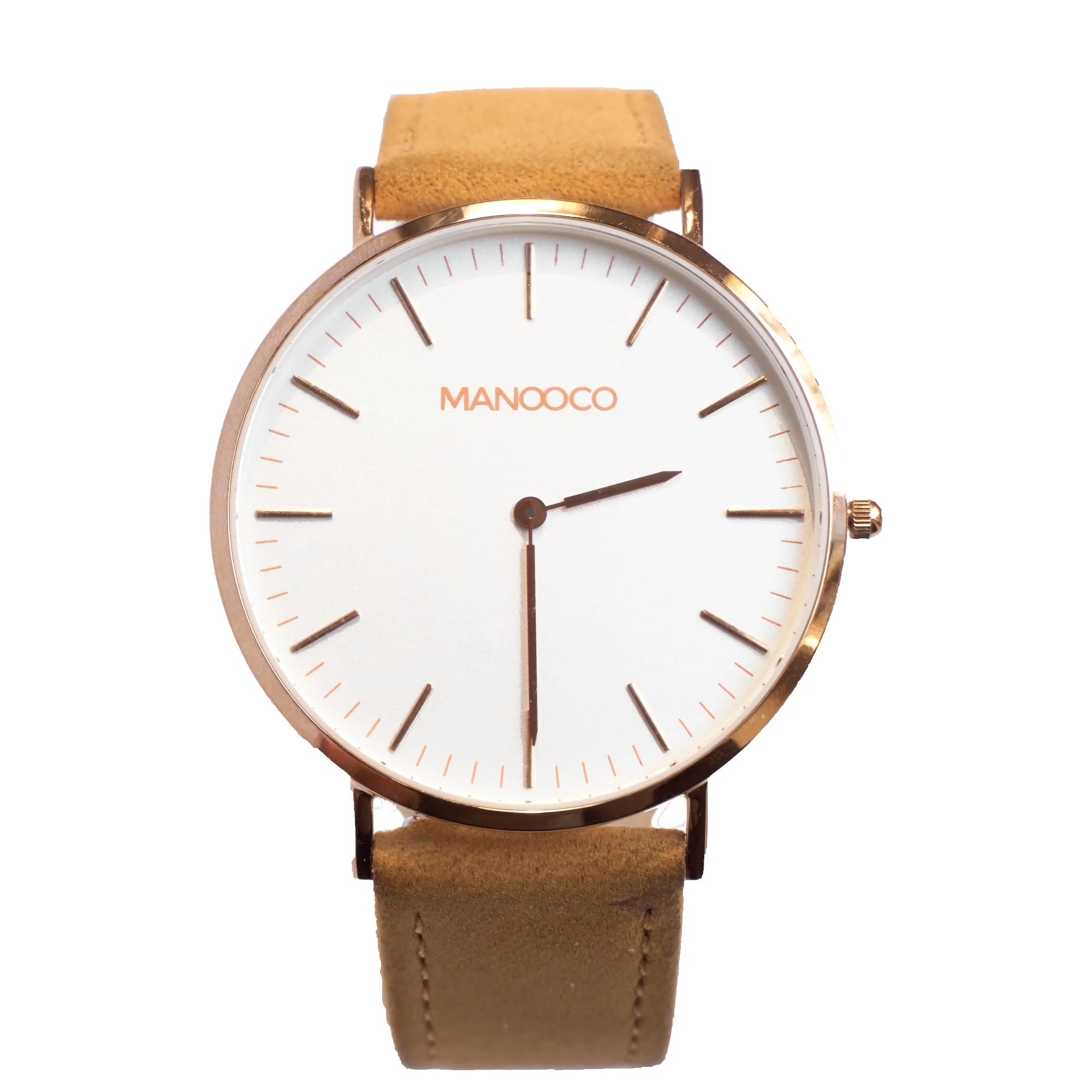Leather Strap Rose Gold Watch Zephyr Rose Gold Light Brown Leather