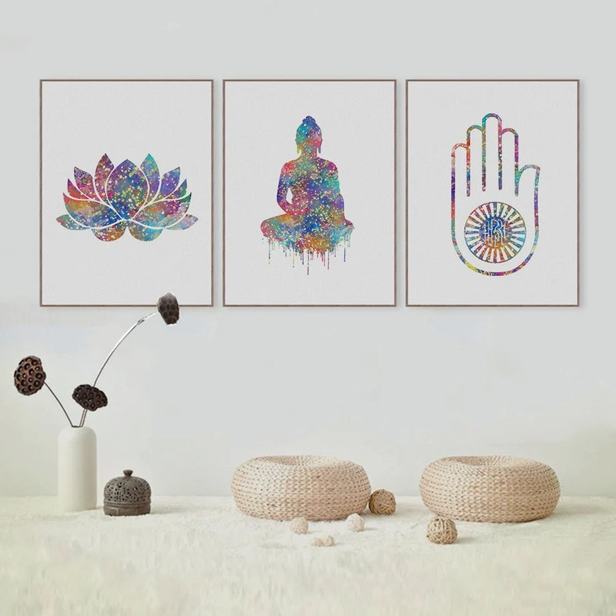 Art Wall Watercolor Buddha Art
