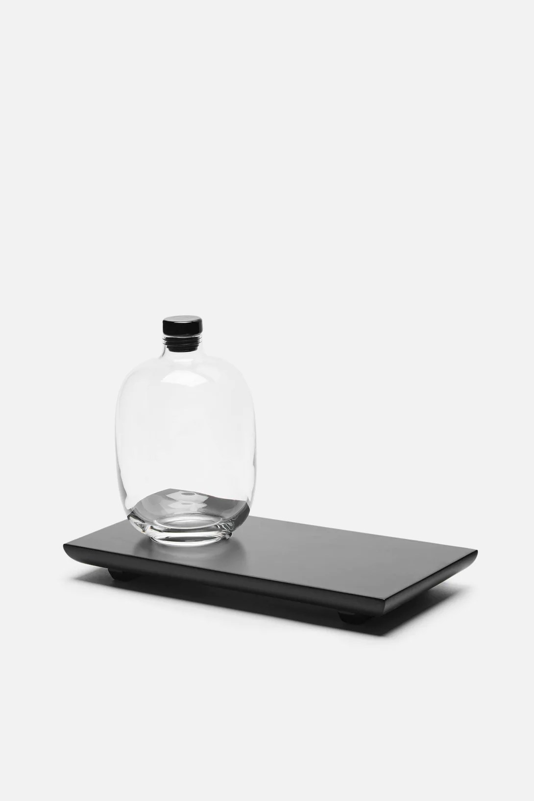 Black Serving Tray Whiskey Decanter And Black Serving Tray
