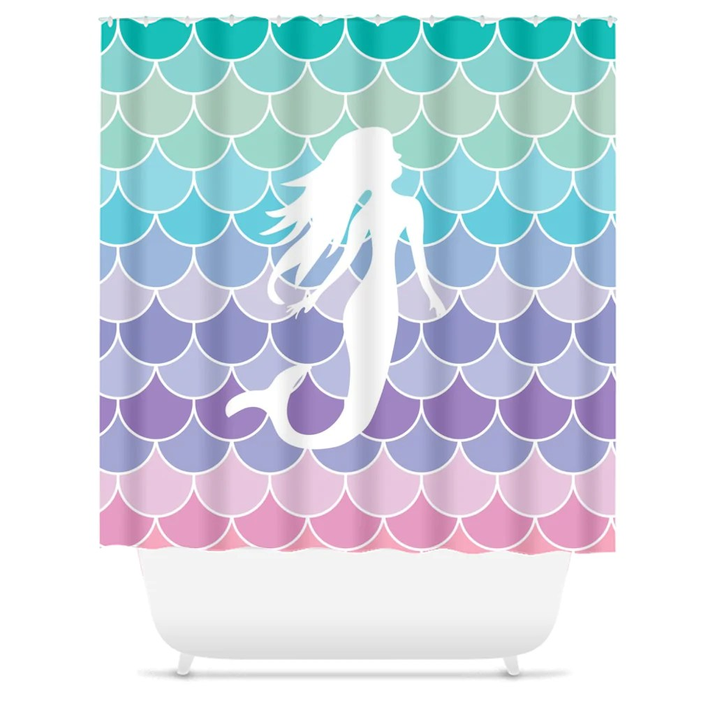 Mermaid Scale Shower Curtain Mermaid Scales Pastel Beach Shower Curtain