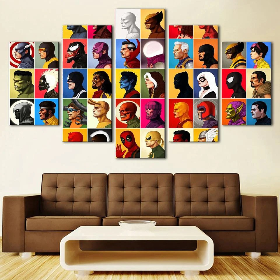 Comic Wall Decor Large Framed Comic Book Characters 5 Piece Canvas Print Wall Art Home Decor