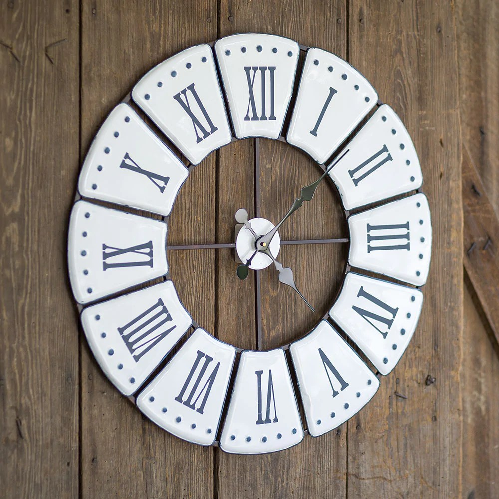 Wall Clock Design Large Vintage Style Metal Wall Clock Featuring Roman Numeral Design