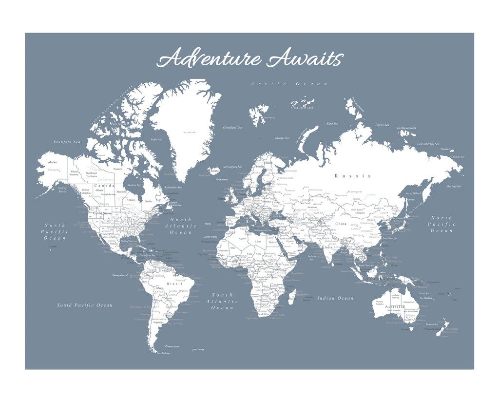 Poster Of The World World Map Poster Slate Blue