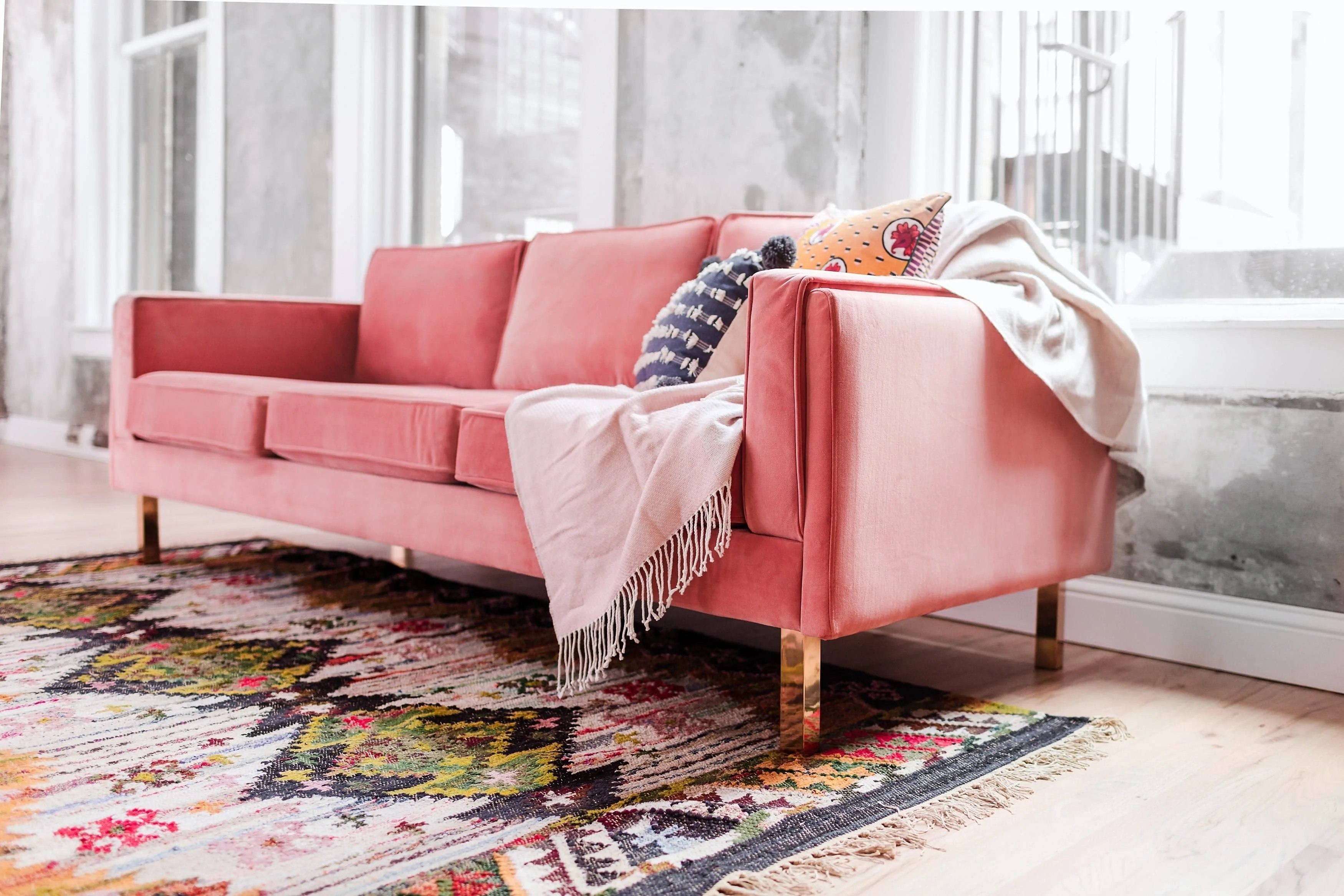 Rosa Couch Lexington Midcentury Modern Sofa - Blush Pink Velvet Sofa ...