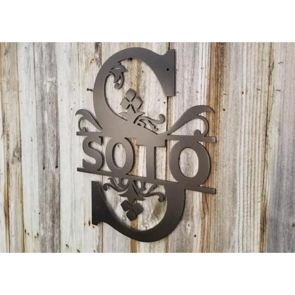 Art Wall Split Regal Monogram Metal Art Wall Decor Advanced Metal Art