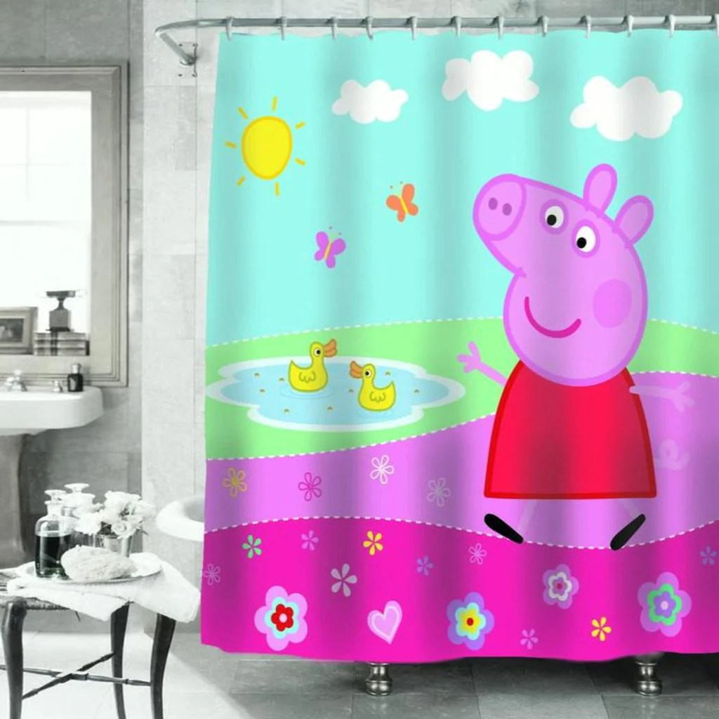Cute Girly Shower Curtains Pink Red Peppa Pig Peppa S Pond Shower Curtain 72x72 Inch