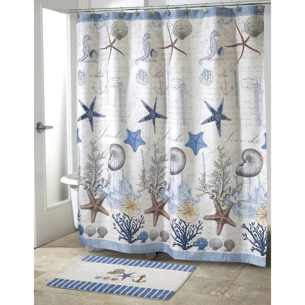 Cottage Shower Curtain Girls Beach Themed Shower Curtain Blue White Coastal Shells Pattern