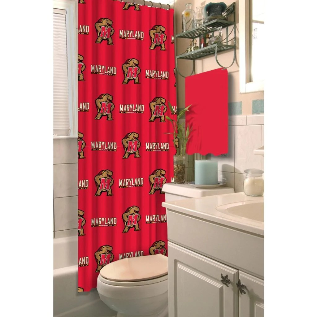 Red And Brown Shower Curtain Red Brown Maryland Terrapins Football Sports Themed Shower Curtain Polyester