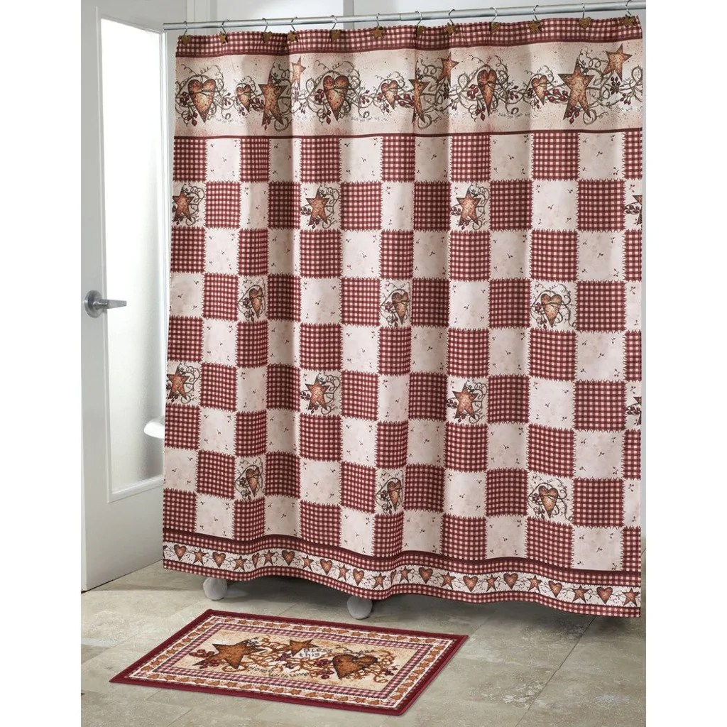 Red And Brown Shower Curtain Ivory Red Cream Brown Motif Grid Pattern Shower Curtain Modern
