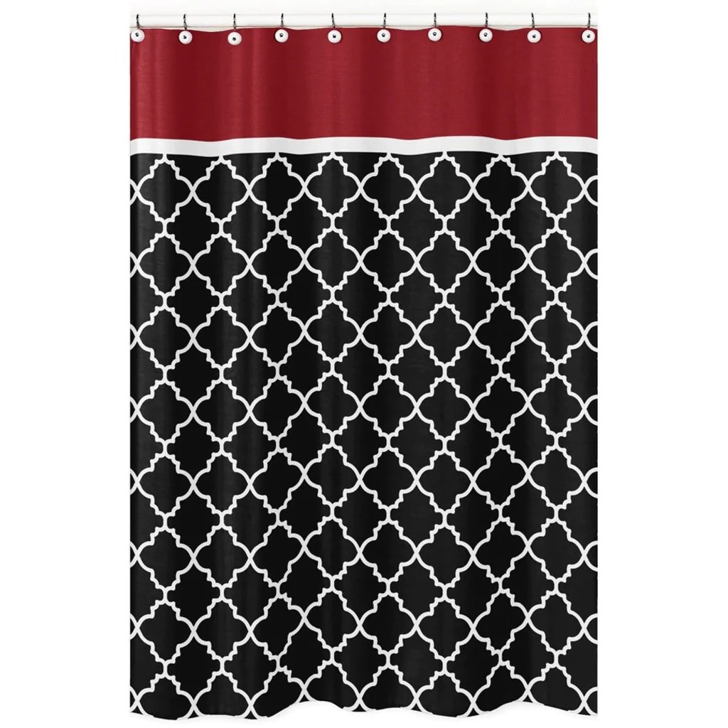 Red Trellis Curtains 72x72 Black White Moroccan Trellis Pattern Shower Curtain Elegant Luxurious