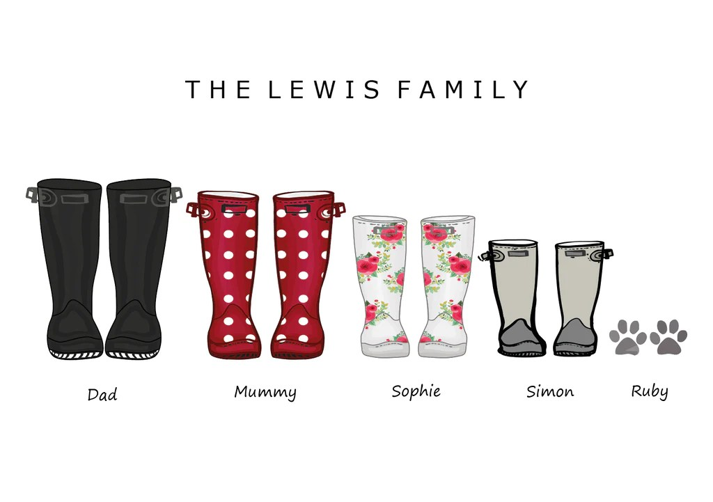 Black Glitter Wallpaper Bedroom Wellies Family Wellies Print Build Your Own