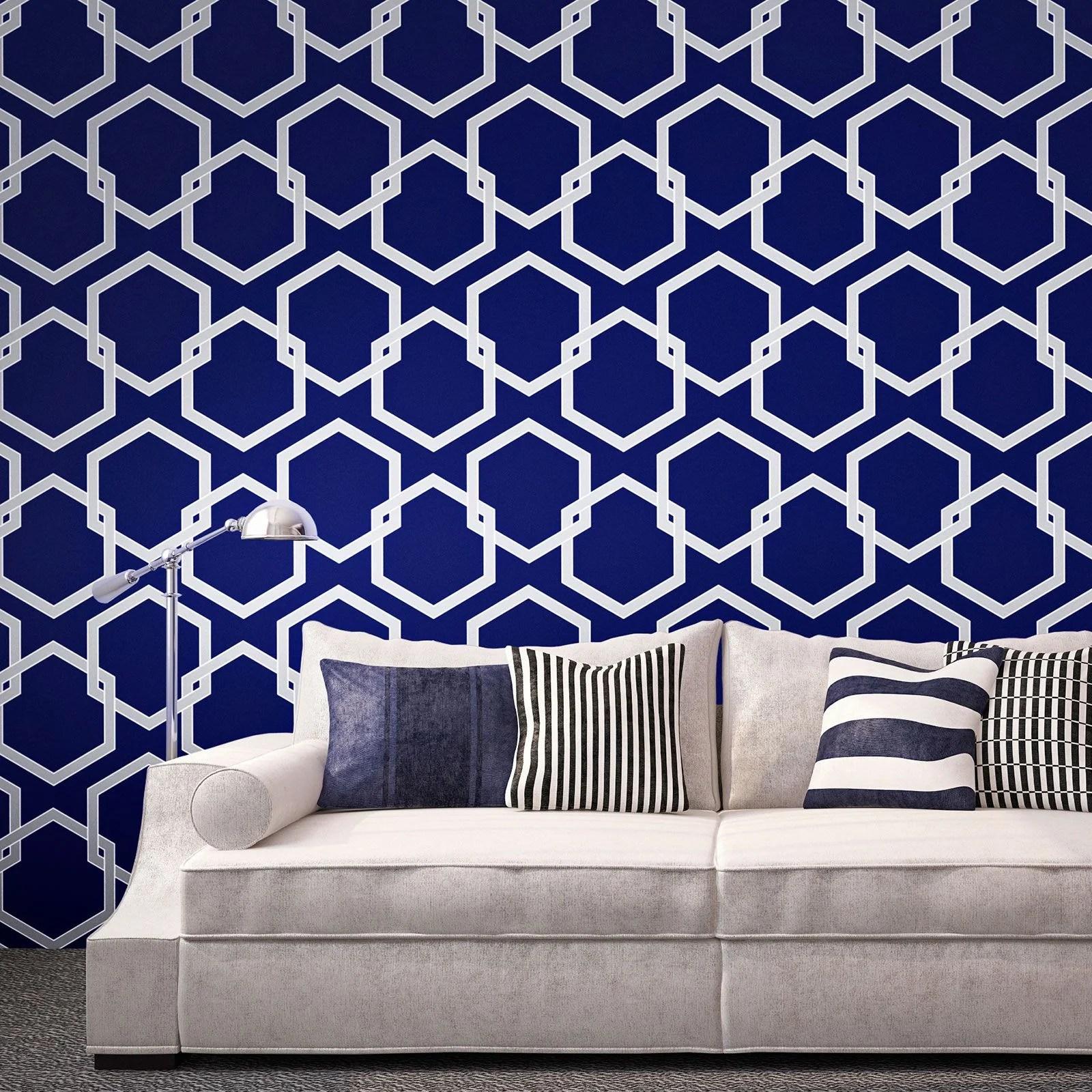 Temporary Wallpaper - Honey Comb - Metallic Silver/Deep Blue– Dormify