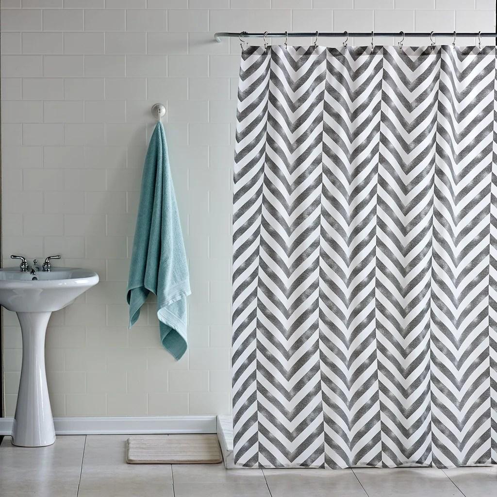 Home bath tiled chevron shower curtain