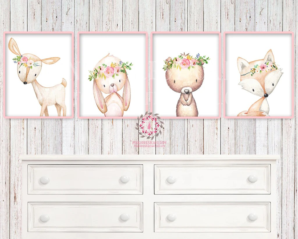 Nursery Prints Girl Baby Nursery Kids Room Wall Art Prints Printable Boho Woodland