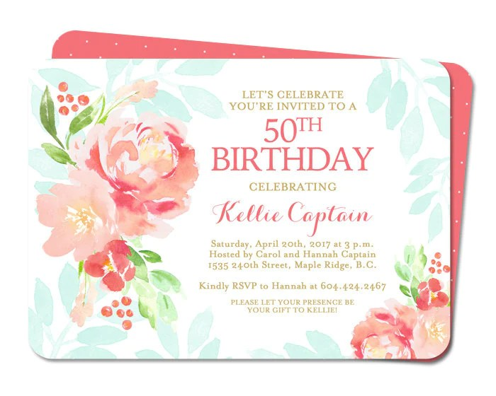50th Birthday Invitation Adult Birthday Invite Watercolor