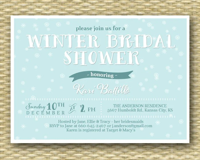 Winter Bridal Shower Invitation Snowflake Bridal Shower