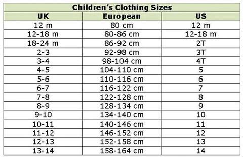 boy clothes size chart - Heartimpulsar