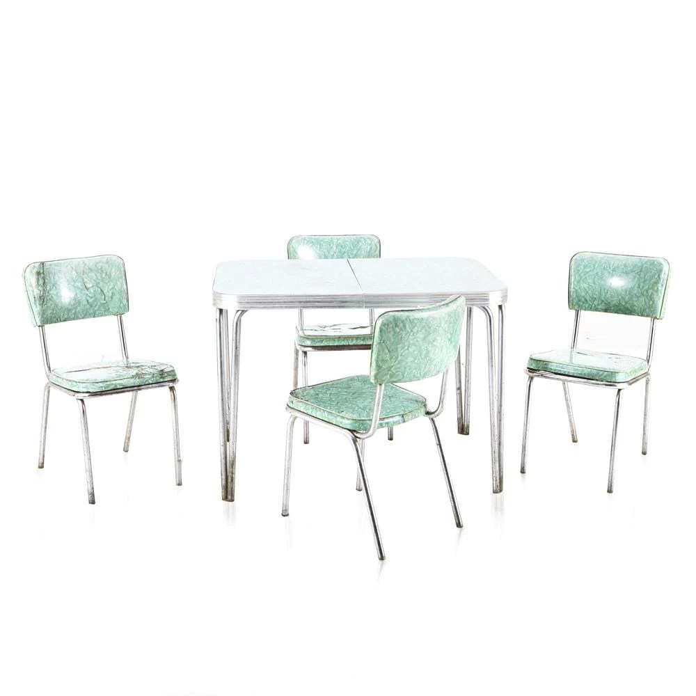 Mint Green Chrome Vintage Dining Table Modernica Props