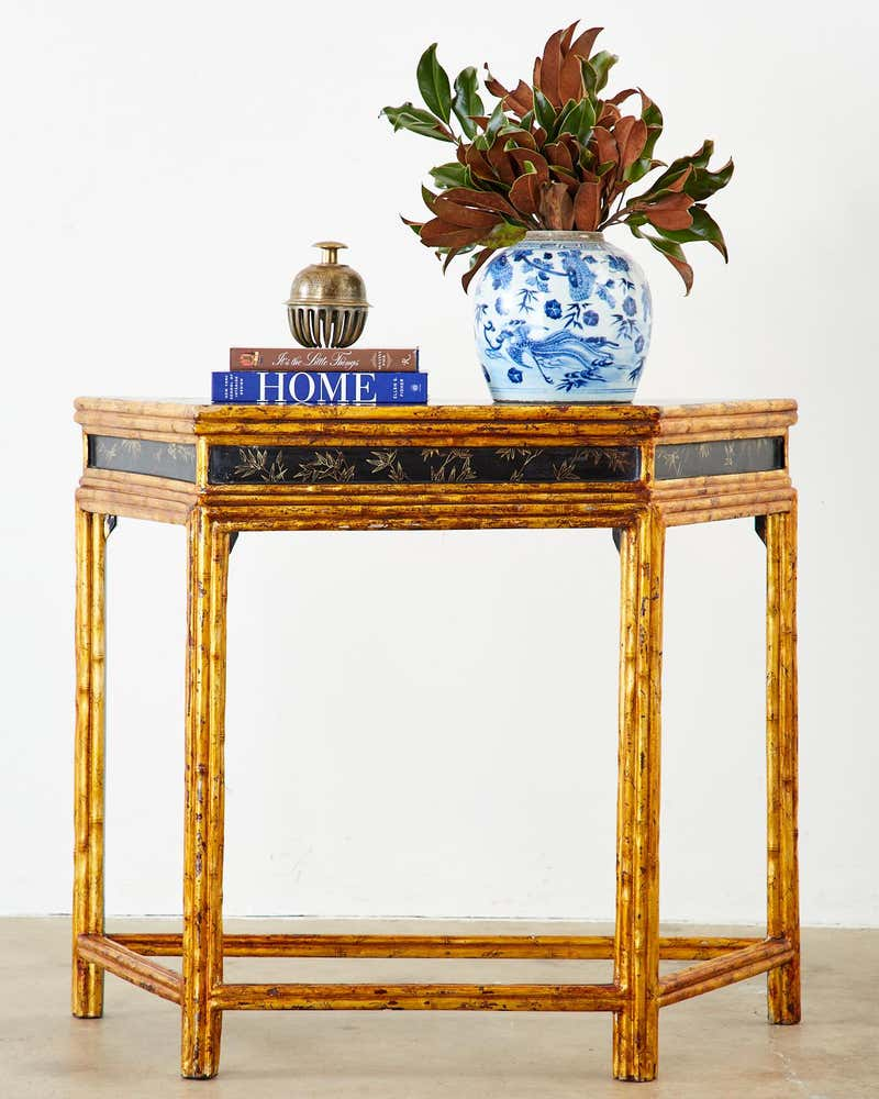 Chinese Export Faux Bamboo Gilt Lacquered Console Table Erin Lane Estate